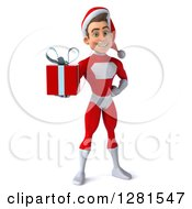 3d Young White Male Super Hero Santa Holding A Christmas Gift