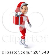 3d Young White Male Super Hero Santa Walking To The Right And Holding A Christmas Gift
