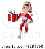 3d Young White Male Super Hero Santa Running Forward And Holding A Christmas Gift