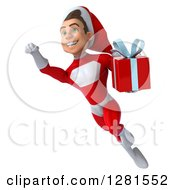 3d Young White Male Super Hero Santa Flying Up And To The Left Holding A Christmas Gift