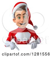 3d Young White Male Christmas Super Hero Santa Pointing Down Over A Sign