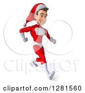 3d Young White Male Christmas Super Hero Santa Walking With Big Strides