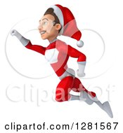 3d Young White Male Christmas Super Hero Santa Flying To The Left