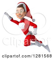 3d Young White Male Christmas Super Hero Santa Flying To The Left And Smiling