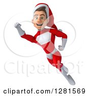3d Young White Male Christmas Super Hero Santa Flying And Smiling