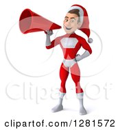 3d Young White Male Christmas Super Hero Santa Announcing With A Megaphone