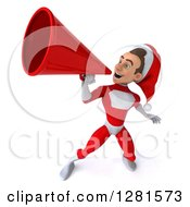 3d Young White Male Christmas Super Hero Santa Announcing Upwards With A Megaphone