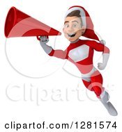 3d Young White Male Christmas Super Hero Santa Flying And Announcing With A Megaphone