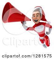 3d Young White Male Christmas Super Hero Santa Flying And Announcing With A Megaphone 2