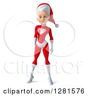 Clipart Of A 3d Young White Female Christmas Super Hero Santa Royalty Free Illustration