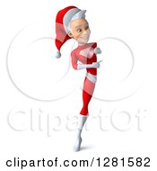 3d Full Length Young White Female Christmas Super Hero Santa Pointing Around A Sign