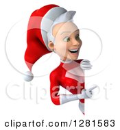 3d Young White Female Christmas Super Hero Santa Pointing Around A Sign