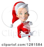 3d Young White Female Christmas Super Hero Santa Smiling And Pointing Around A Sign