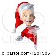 3d Young White Female Christmas Super Hero Santa Pointing Outwards Around A Sign