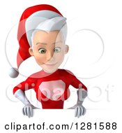 3d Young White Female Christmas Super Hero Santa Looking Down Over A Sign