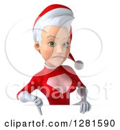 3d Unhappy Young White Female Christmas Super Hero Santa Holding A Thumb Down Over A Sign