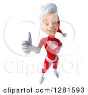 3d Happy Young White Female Christmas Super Hero Santa Holding Up A Thumb