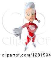 3d Unhappy Young White Female Christmas Super Hero Santa Holding Up A Thumb Down