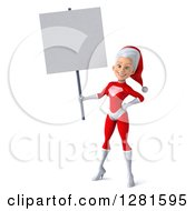 Clipart Of A 3d Young White Female Christmas Super Hero Santa Holding A Blank Sign Royalty Free Illustration