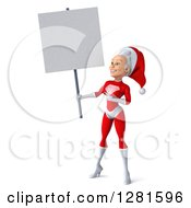 Clipart Of A 3d Young White Female Christmas Super Hero Santa Holding And Pointing To A Blank Sign Royalty Free Illustration