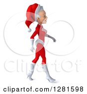 3d Young White Female Christmas Super Hero Santa Walking To The Right