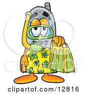 Wireless Cellular Telephone Mascot Cartoon Character In Green And Yellow Snorkel Gear