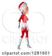 3d Young White Female Christmas Super Hero Santa Walking Away