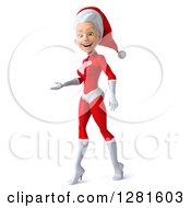 Clipart Of A 3d Young White Female Christmas Super Hero Santa Walking And Presenting To The Left Royalty Free Illustration