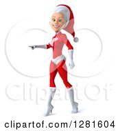 Clipart Of A 3d Young White Female Christmas Super Hero Santa Walking And Pointing To The Left Royalty Free Illustration by Julos