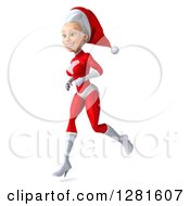 3d Young White Female Christmas Super Hero Santa Running To The Left