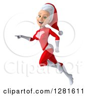 3d Young White Female Christmas Super Hero Santa Flying To The Left And Pointing
