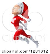 3d Young White Female Christmas Super Hero Santa Flying To The Left Looking Upwards And Smiling
