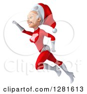 Clipart Of A 3d Young White Female Christmas Super Hero Santa Flying To The Left With Her Arm Up Royalty Free Illustration by Julos