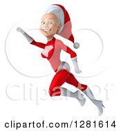 3d Young White Female Christmas Super Hero Santa Smiling And Flying To The Left With Her Arm Up