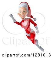 Clipart Of A 3d Young White Female Christmas Super Hero Santa Flying To The Left And Smiling With Her Arm Up Royalty Free Illustration