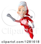 Clipart Of A 3d Happy Smiling Young White Female Christmas Super Hero Santa Flying To The Left With Her Arm Up Royalty Free Illustration by Julos