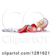 3d Young White Female Christmas Super Hero Santa Resting On Her Side