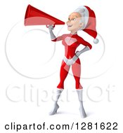 Clipart Of A 3d Young White Female Christmas Super Hero Santa Announcing With A Megaphone Royalty Free Illustration