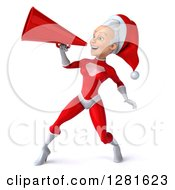 Clipart Of A 3d Young White Female Christmas Super Hero Santa Facing Left And Announcing With A Megaphone Royalty Free Illustration