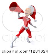 Clipart Of A 3d Young White Female Christmas Super Hero Santa Facing Left And Announcing Upwards With A Megaphone Royalty Free Illustration by Julos