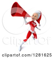 Clipart Of A 3d Young White Female Christmas Super Hero Santa Announcing Upwards With A Megaphone Royalty Free Illustration
