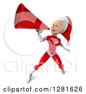 Clipart Of A 3d Young White Female Christmas Super Hero Santa Facing Left Announcing With A Megaphone Royalty Free Illustration