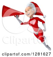 Clipart Of A 3d Young White Female Christmas Super Hero Santa Flying And Announcing With A Megaphone Royalty Free Illustration