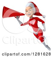 Clipart Of A 3d Young White Female Christmas Super Hero Santa Flying Smiling And Announcing With A Megaphone Royalty Free Illustration