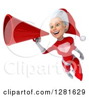 3d Young White Female Christmas Super Hero Santa Flying Slightly Left And Announcing With A Megaphone