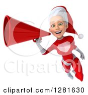 Clipart Of A 3d Young White Female Christmas Super Hero Santa Flying Slightly Left Smiling And Announcing With A Megaphone Royalty Free Illustration