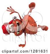 Clipart Of A 3d Red Christmas Germ Virus Cartwheeling Royalty Free Vector Illustration