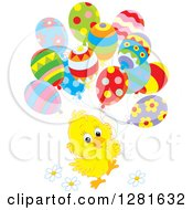 Cute Yellow Easter Chick With Spring Time Flowers And Patterned Party Balloons