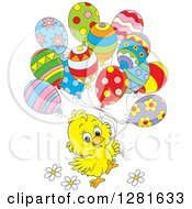 Clipart Of A Cute Yellow Easter Or Spring Time Chick With Flowers And Patterned Party Balloons Royalty Free Vector Illustration
