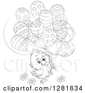 Cute Black And White Easter Chick With Spring Flowers And Patterned Party Balloons
